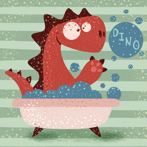 浴室でかわいいディノの洗濯 Premiumベクター