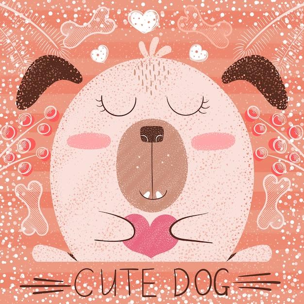 かわいい漫画の犬 Premiumベクター
