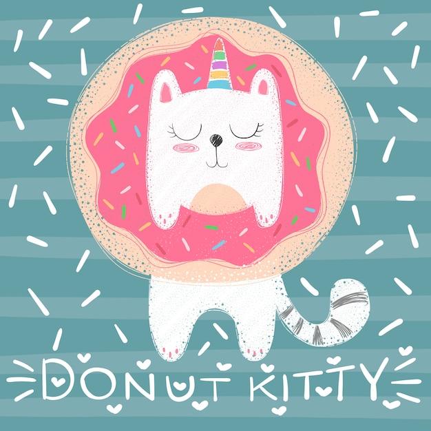 かわいいユニコーン猫 - 面白いイラスト Premiumベクター