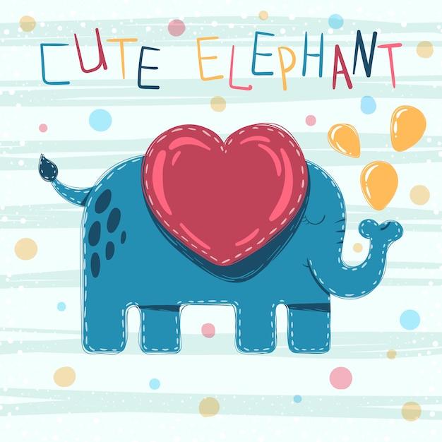 かわいい赤ちゃん象の漫画イラスト Premiumベクター