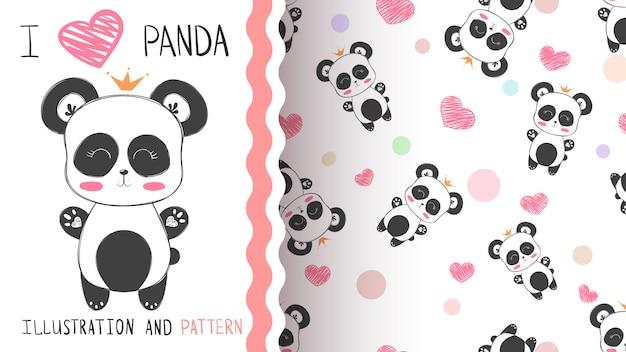 パンダのシームレスパターン Premiumベクター