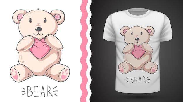 Идея милого медведя для футболки с принтом Premium векторы