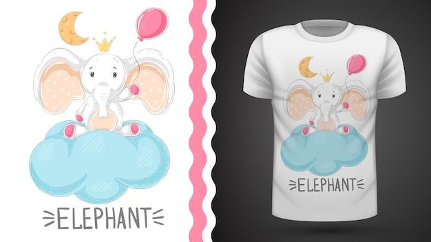 Слон с воздушным шариком для футболки с принтом Premium векторы