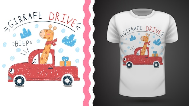 Симпатичная идея жирафа для футболки с принтом Premium векторы