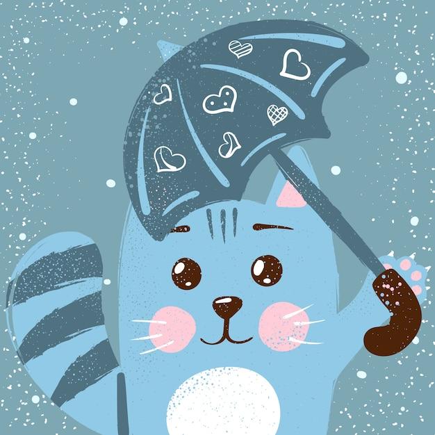 かわいい、面白い猫。リトルプリンセスイラスト。 Premiumベクター