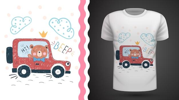 Идея медведя и автомобиля для футболки с принтом Premium векторы