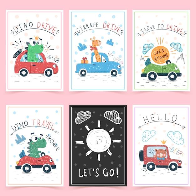 Симпатичные поздравительные открытки для детей Premium векторы