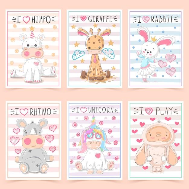 動物と子供のためのかわいいグリーティングカード Premiumベクター