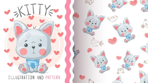 かわいい猫キツネ - シームレスパターン Premiumベクター