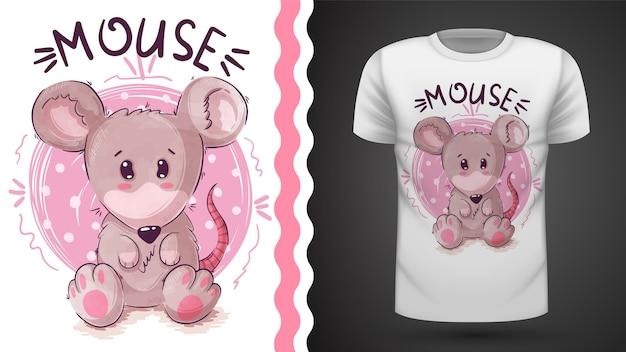 Симпатичная мышка тедди, идея для футболки с принтом Premium векторы