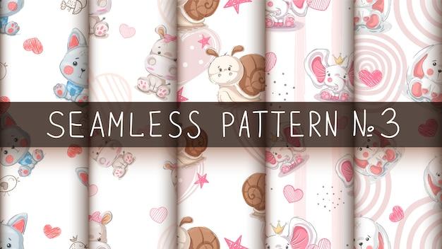 かわいい動物 - シームレスなパターンを設定します。 Premiumベクター