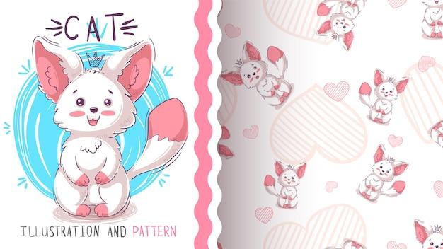 かわいいテディ猫 - シームレスなパターン Premiumベクター