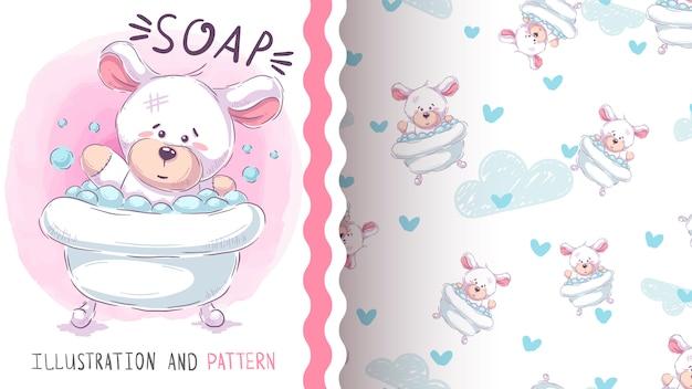 かわいいクマ洗浄 - シームレスパターン Premiumベクター