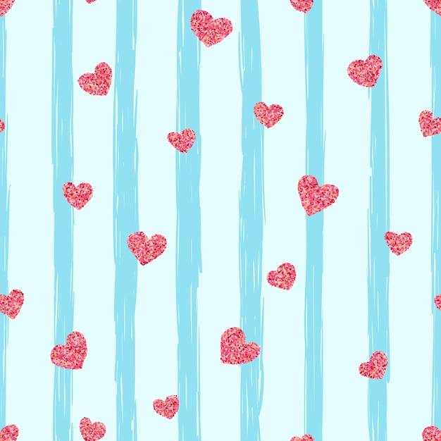 シームレスなピンクのハートのパターン。愛のイラストレーション。 Premiumベクター