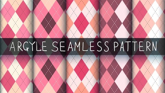 シームレスなアーガイルチェック柄ピンクパターン。 Premiumベクター