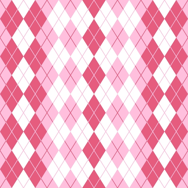 シームレスなアーガイルチェックのピンクの模様。 Premiumベクター
