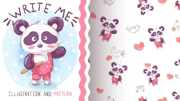Акварель рисовать панда бесшовные модели Premium векторы