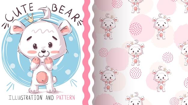ホッキョクグマのシームレスなパターンとイラスト Premiumベクター