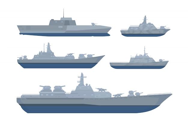 モダンスタイルの様々なモデルとサイズの戦艦セットコレクションパック Premiumベクター