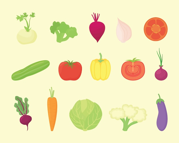 モダンなフラットスタイルの様々な種類と様々な色の野菜セットコレクション Premiumベクター