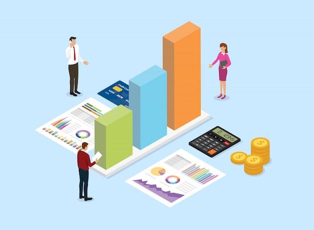 チームの人々と財務分析会社コンセプトグラフからデータを分析します。 Premiumベクター