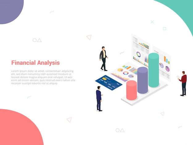 Концепция компании финансового анализа с командой людей анализировать данные из графика Premium векторы