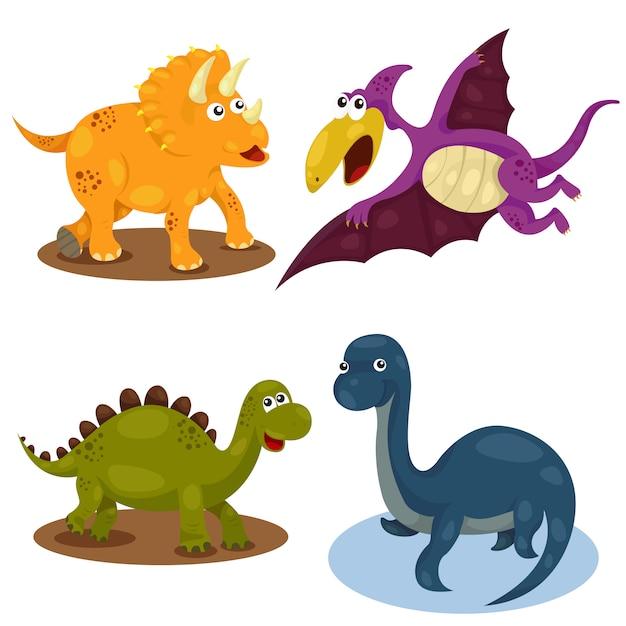 恐竜漫画かわいいセット Premiumベクター