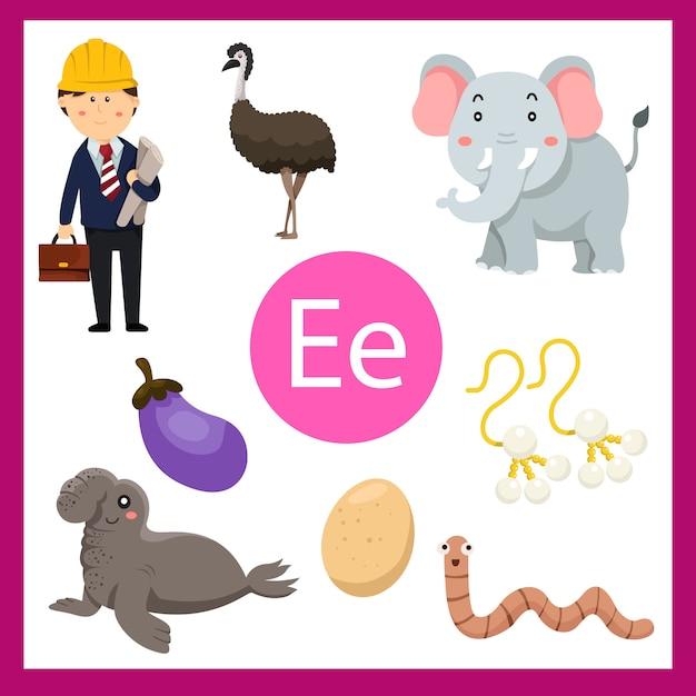 Элементы е алфавита для детей Premium векторы