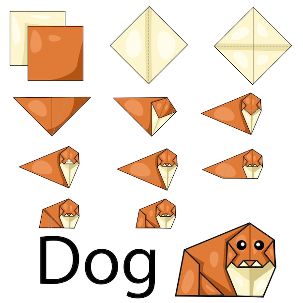 犬の折り紙のイラスト Premiumベクター