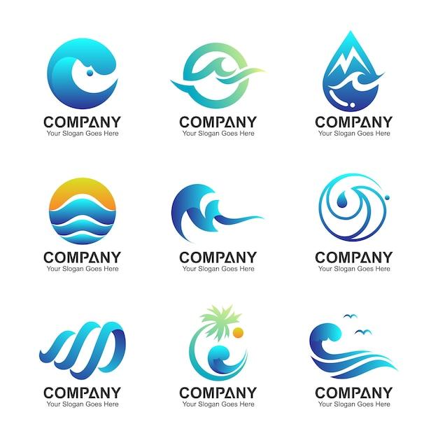 波のロゴテンプレート、水のシンボルのコレクション、波と自然のアイコンが設定されています Premiumベクター