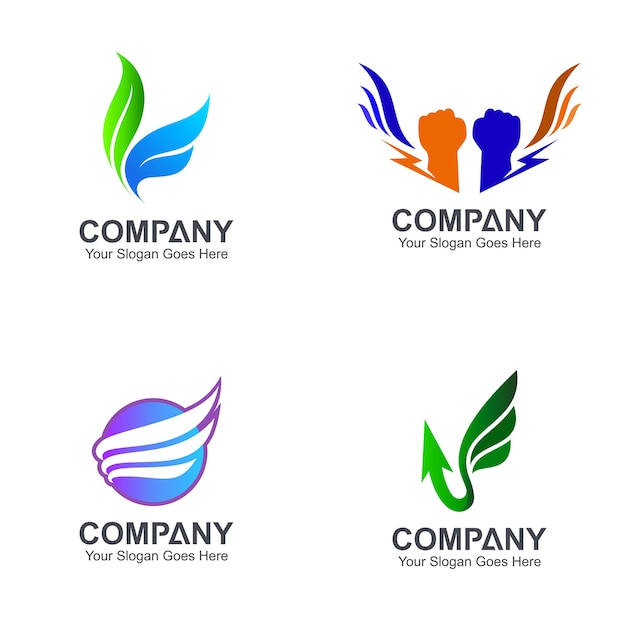 翼のロゴデザインのバリエーション Premiumベクター