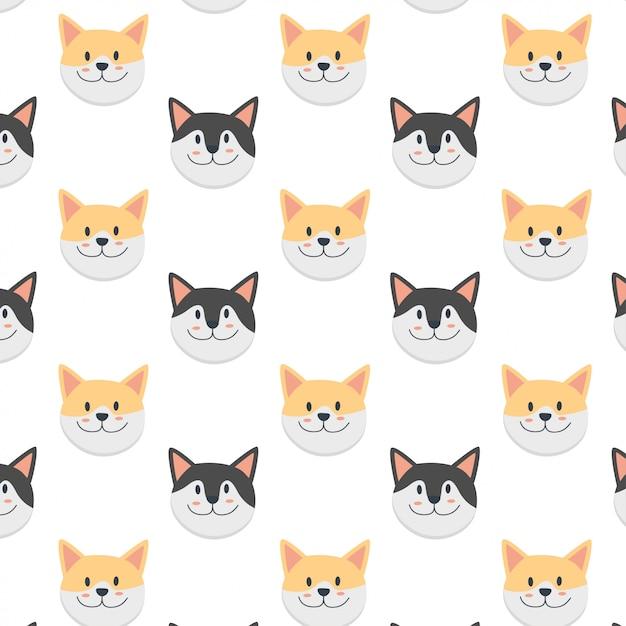 かわいい猫の顔漫画パターン Premiumベクター
