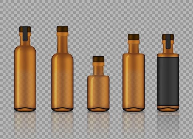 現実的なアンバー透明ガラス製品ボックをモックアップ Premiumベクター