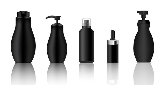 現実的なブラックスプレー、ドロッパー、ポンプ化粧品ボトルをモックアップ Premiumベクター