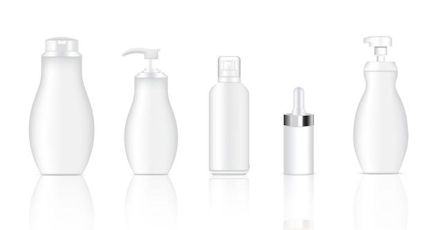 現実的なホワイトスプレー、ドロッパー、ポンプ化粧品ボトルをモックアップ Premiumベクター