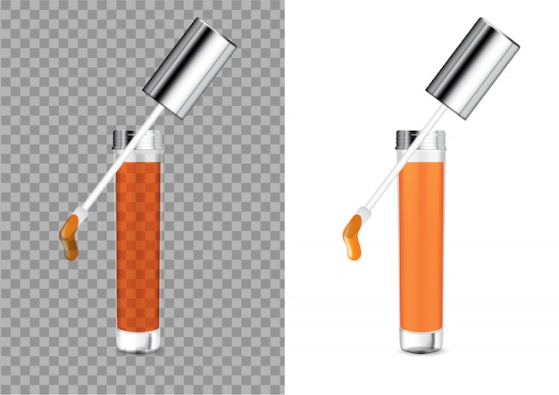 リアルな透明ボトル化粧品リップグロスバームモックアップ Premiumベクター