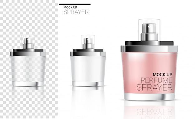現実的なスプレーボトル香水化粧品や石鹸の泡 Premiumベクター