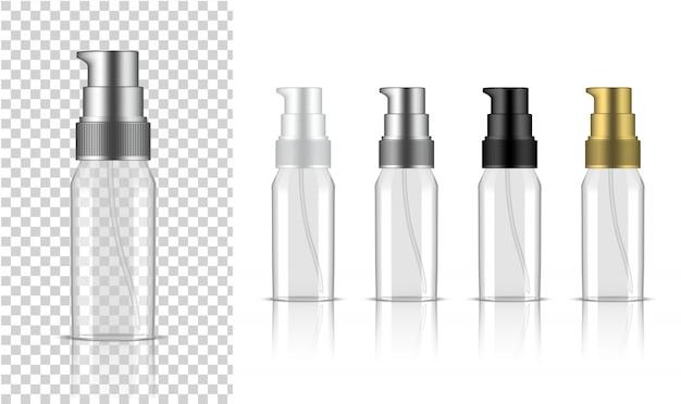 透明ボトルリアルなポンプ化粧品 Premiumベクター