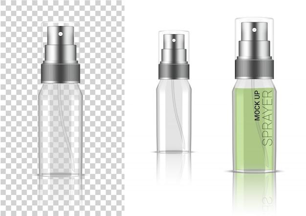 リアルな透明スプレーボトル化粧品 Premiumベクター