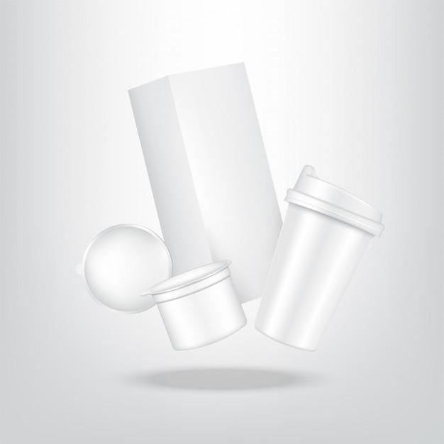 現実的なコーヒーカプセル、カートンパックボックス、食品および飲料製品の包装用カップ Premiumベクター