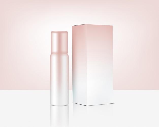 スキンケアプロダクトのための現実的なローズゴールド化粧品および箱を模擬するスプレーボトルポンプ Premiumベクター