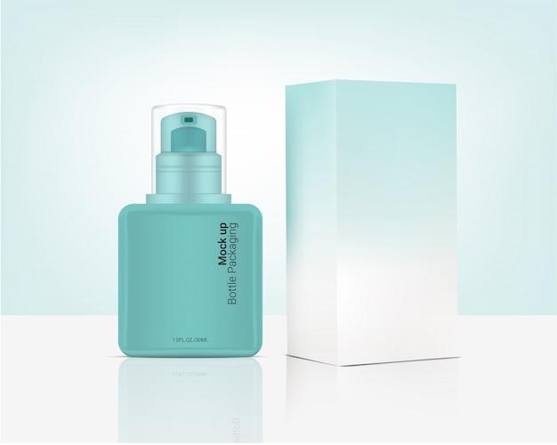 スキンケアプロダクトのための現実的な有機性化粧品そして箱を模擬するスプレーボトルポンプ Premiumベクター