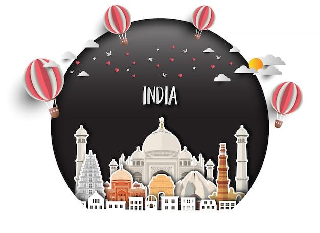 Справочная информация индии глобальные путешествия и путешествие справочный документ. Premium векторы