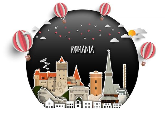 ルーマニアランドマーク世界旅行と旅の紙の背景。 Premiumベクター