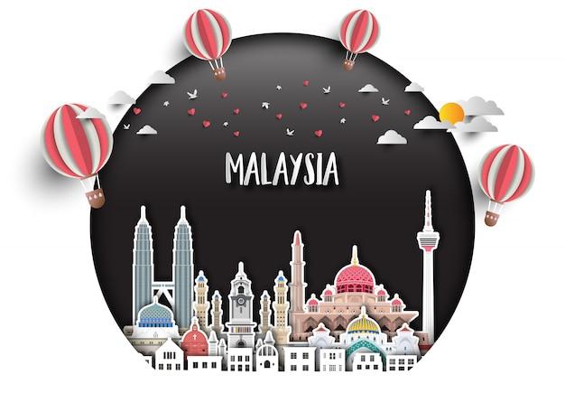 Справочная информация о путешествиях и путешествиях в малайзии Premium векторы