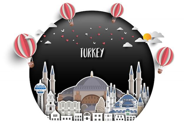 トルコのランドマーク世界旅行と旅の紙の背景。 Premiumベクター