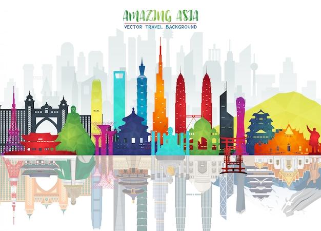 アジアの有名なランドマークペーパーアート。世界旅行と旅のインフォグラフィックバッグ。 Premiumベクター