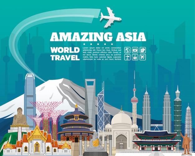 Азия знаменитый ориентир бумаги искусства Premium векторы