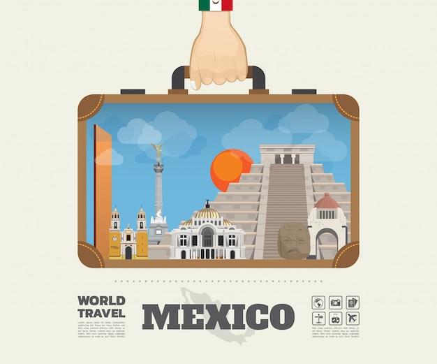 メキシコのランドマークの世界旅行と旅インフォグラフィックバッグを運ぶ手。 Premiumベクター