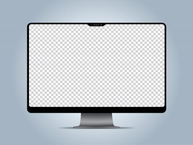 コンピューターモックアップ透明表示画面 Premiumベクター